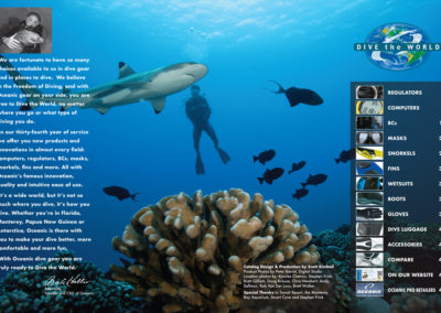 "2006 Oceanic Scuba Gear Catalog design, production, ""Dive the World"" logo design, founder's letter written by Scott Kimball"