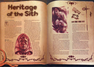 Star Wars Insider Magazine feature layout, page ornaments, book and snake photos by Scott Kimball